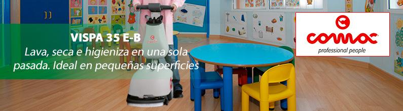 VISPA 35. La revolucionaria fregadora de pavimentos que lava, seca e higieniza en una sola pasada. Ideal para pequeñas superficies.